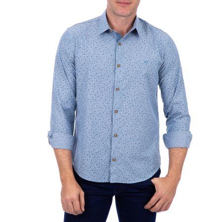 Camisa Masculina Azul Estampada