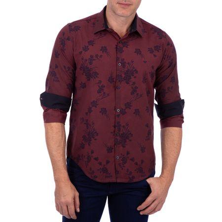 Camisa Masculina Vinho Estampada
