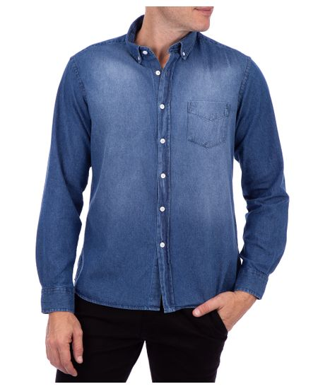 Camisa-Manga-Longa-Jeans-Slim-Azul