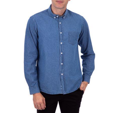 Camisa Masculina Slim Jeans Azul