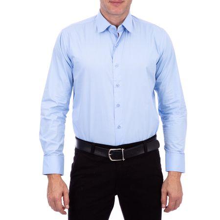 Camisa Algodao Lisa Azul Claro