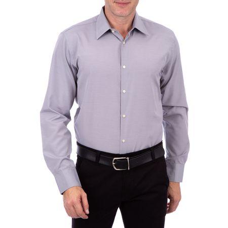 Camisa Social Masculina Cinza Lisa