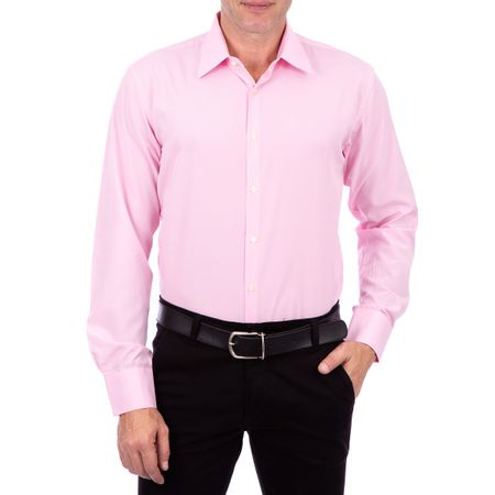 Camisa Social Masculina Rosa Lisa