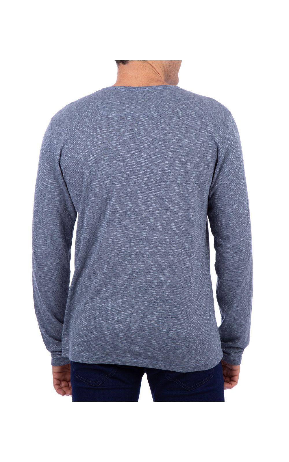 Foto 2 - Camiseta Masculina Detalhada Azul