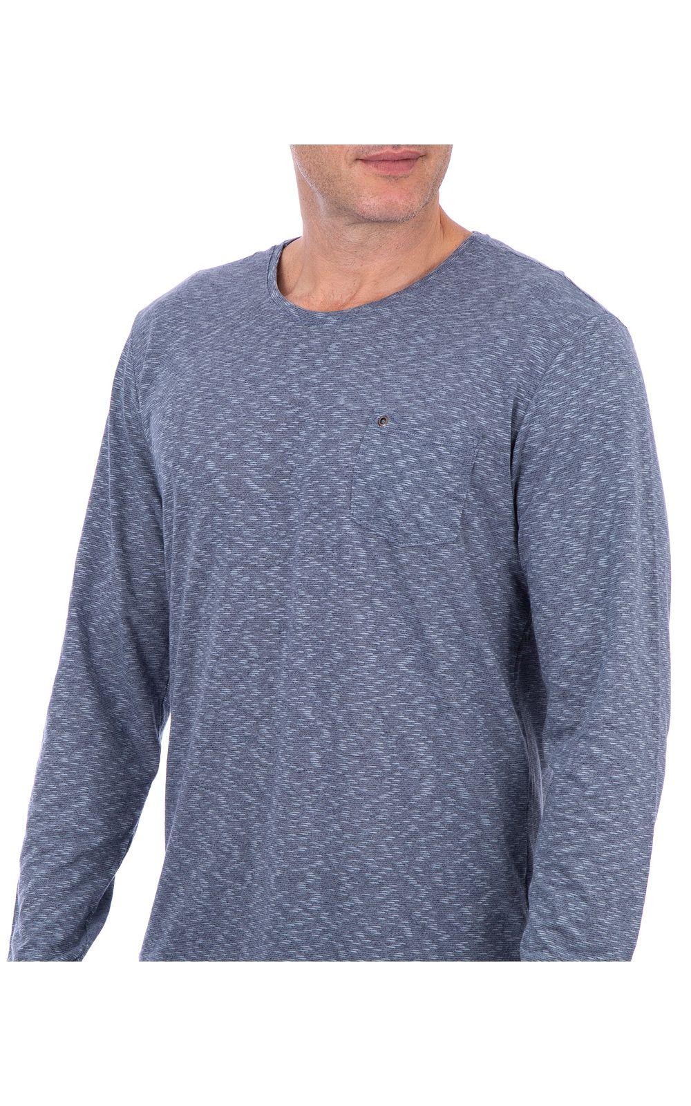 Foto 3 - Camiseta Masculina Detalhada Azul