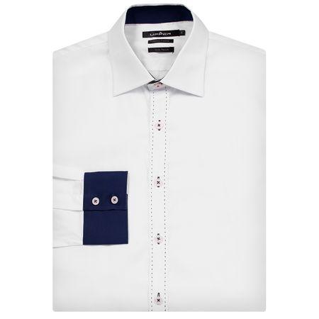 Camisa Social Masculina Branco Detalhada