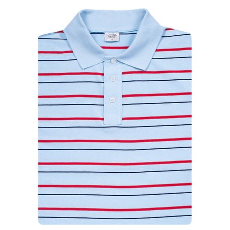 Camisa Polo Masculina Listrada Azul