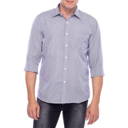 Camisa Social Masculina Azul Listrada com Bolso