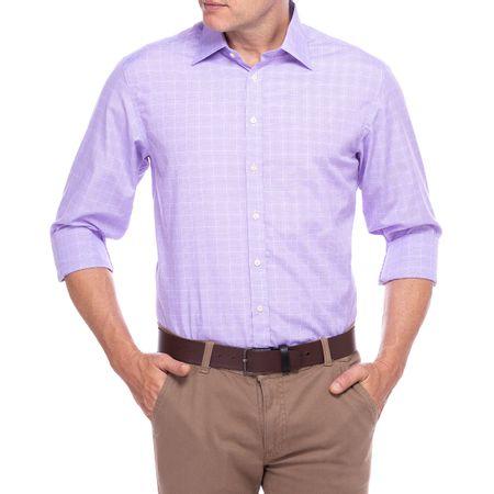 Camisa Social Masculina Lilás Listrada com Bolso