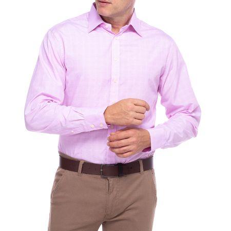 Camisa Social Masculina Rosa Xadrez
