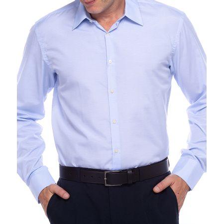 Camisa Social Masculina Azul Lisa