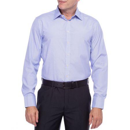 Camisa Social Masculina Azul Lisa com Bolso