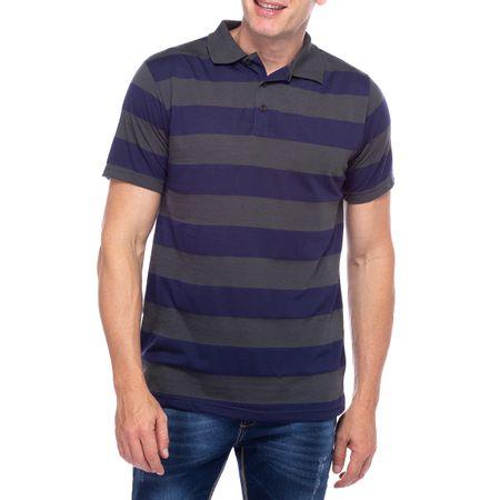 Camisa Polo Masculina Cinza Chumbo Listrada