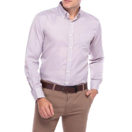Camisa Social Masculina Marrom Xadrez