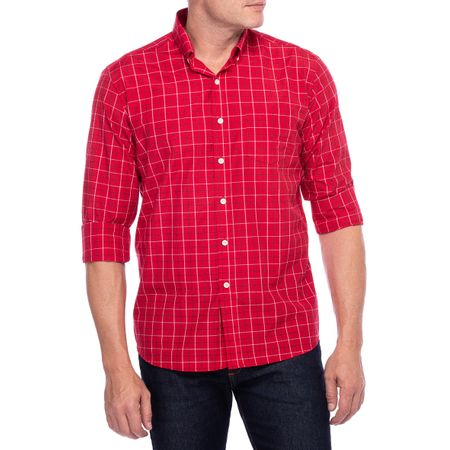 Camisa Social Masculina Vermelho Xadrez
