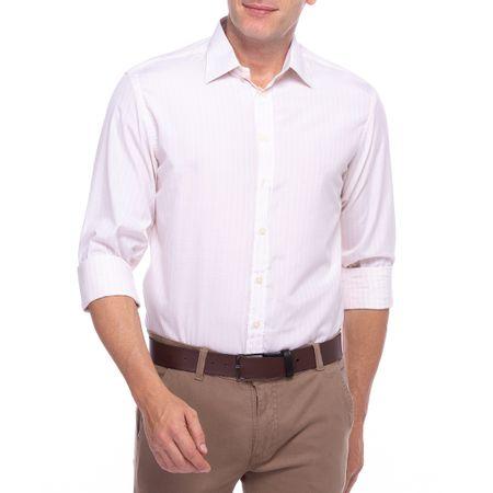 Camisa Social Masculina Branco e Amarelo Listrada