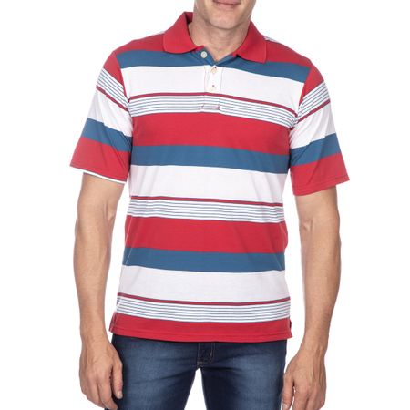 Camisa Polo Masculina Vermelho Listrada