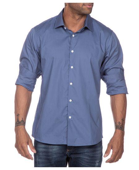 Camisa-Social-Azul-Lisa
