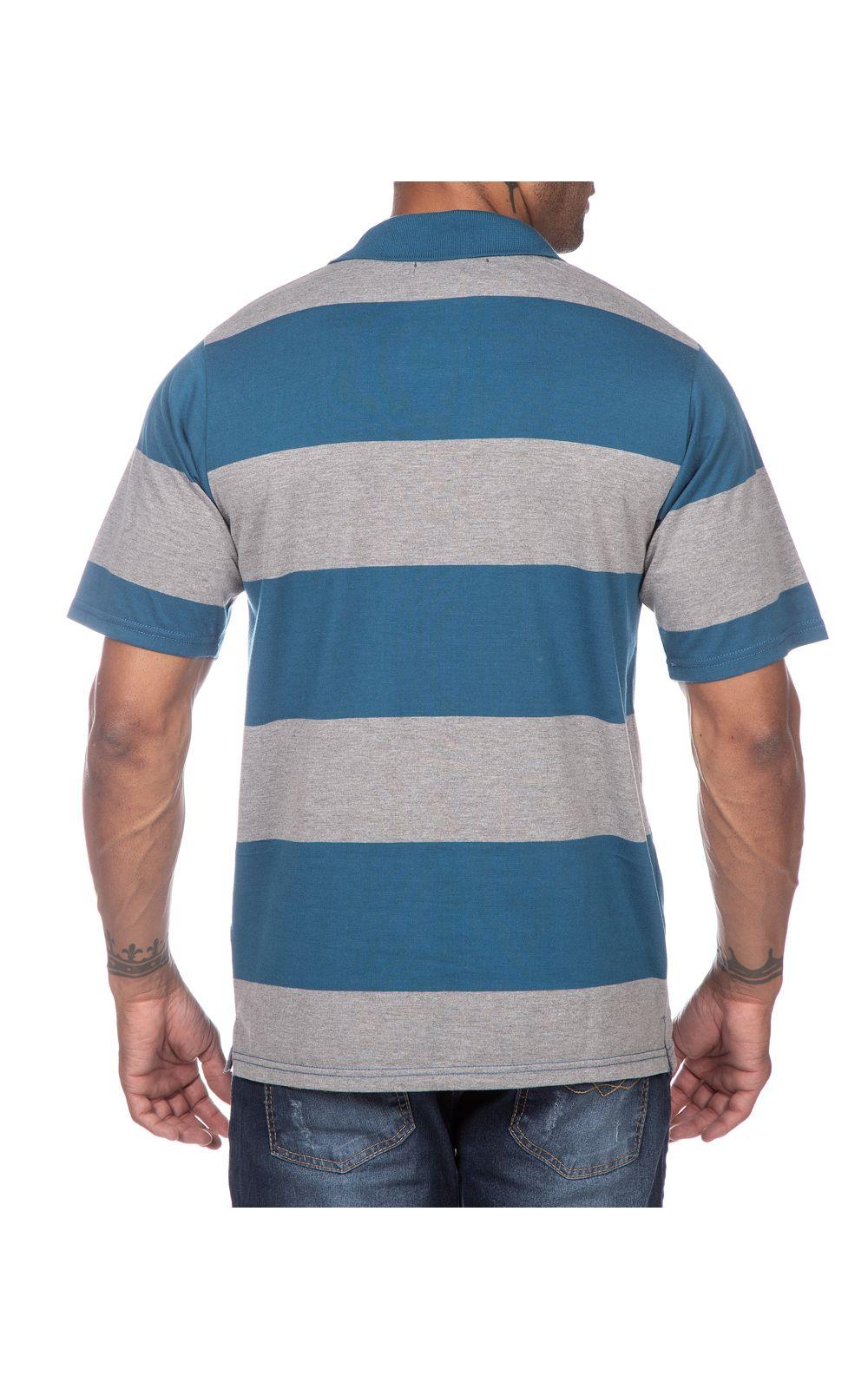 Foto 2 - Camisa Polo Masculina Azul Listrada