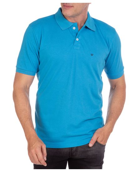 Camisa-Polo-Masculina-Azul-Lisa