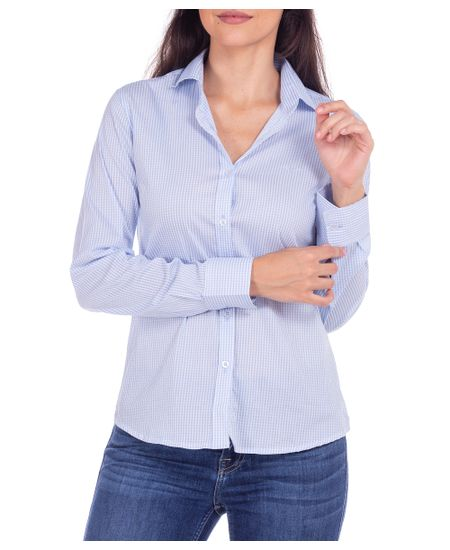 Camisa-Feminina-Azul-Xadrez