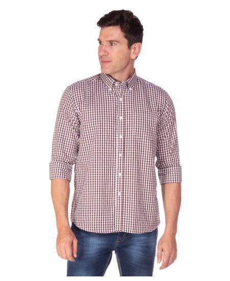 Camisa-Social-Masculina-Marrom-Listrada