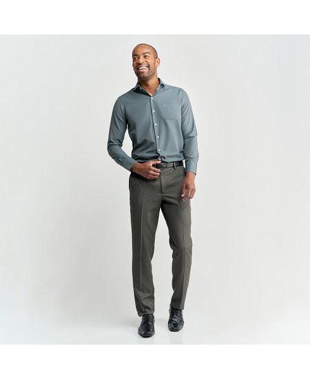 Camisa-Social-Masculina-Azul-Lisa-com-Bolso