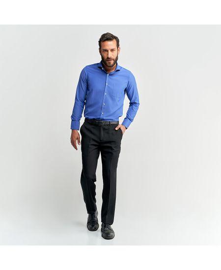 Camisa-Social-Masculina-Azul-Lisa-Com-Bolso---1