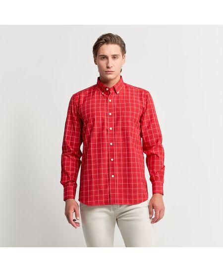 Camisa-Social-Masculina-Vermelho-Xadrez---M