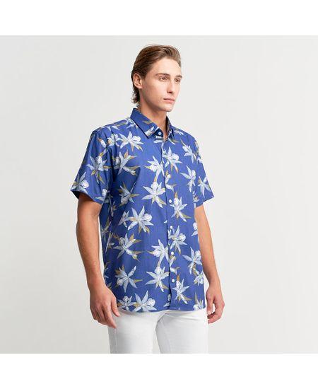Camisa-Azul-Estampada-Manga-Curta
