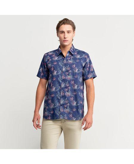 Camisa-Azul-Marinho-Estampada-Manga-Curta